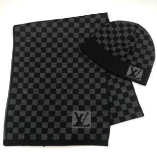 Louis Vuitton Damier Graphite Knit Scarf & Hat