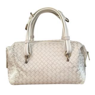 Bottega Veneta White Intrecciato Fringed Boston Bag