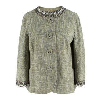 Moschino Green Tweed Crystal Embellished Jacket