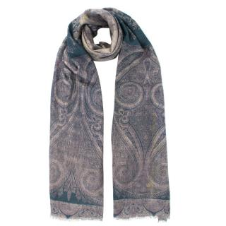 Etro Grey Silk & Cashmere Printed Scarf