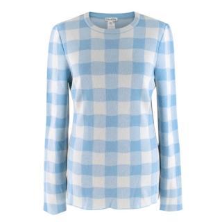 Oscar De La Renta Blue Checked Sweater