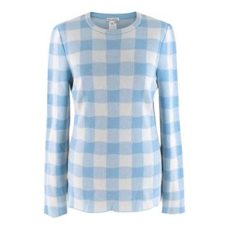 Oscar De La Renta Blue Checked Sweater