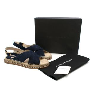 Paloma Barcelo Navy Suede Flat Espadrille Sandals