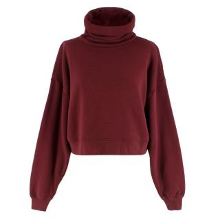 Ninety Percent Burgundy Cropped Rollneck Sweatshirt
