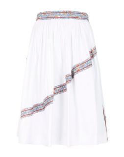 Prada White Jacquard Paneled Midi Skirt