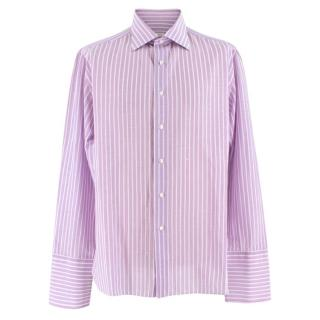 Donato Liguori Purple & White striped bespoke tailored shirt