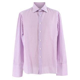 Donato Liguori Purple & White striped bespoke tailored shirt