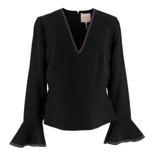 Roksanda Black & Pink Bell Sleeve Top