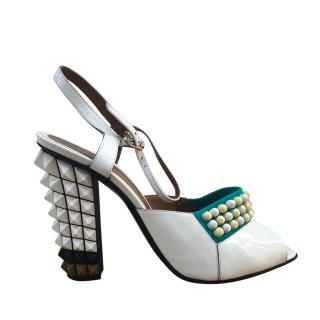 Fendi White Patent Leather Spiked Sandals