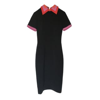 Roksanda Black Fitted Midi Dress with contrast Collar & Trim