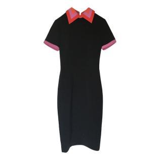Roksanda Black Fitted Midi Dress with contrast Collar & Trim