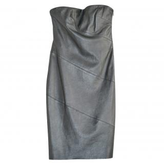 Ralph Lauren Black Label Leather Strapless Dress