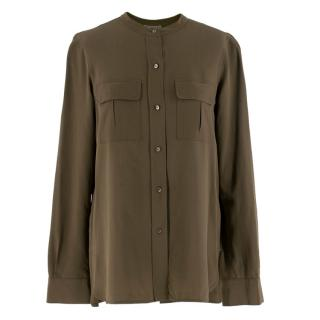 Vince Khaki Round Neck Silk Shirt