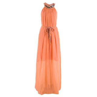 Matthew Williamson Pink Silk Embellished Halter Neck Maxi Dress