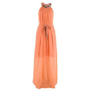 Matthew Williamson Pink Silk Embellished Halter Neck Maxi Dress
