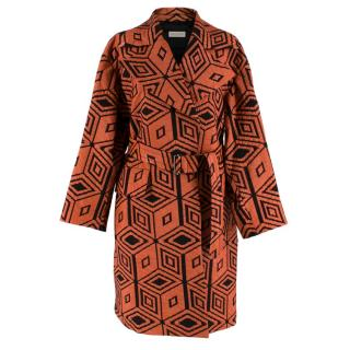 Dries Van Noten Orange & Black Diamond Jacquard Coat