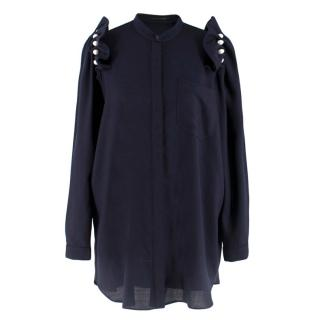 Mother of Pearl Navy Longline Shirt with Pearl Detail