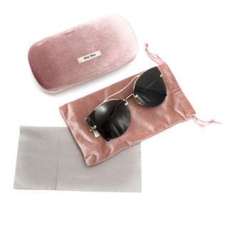 Miu Miu Cat Eye Rimless Sunglasses