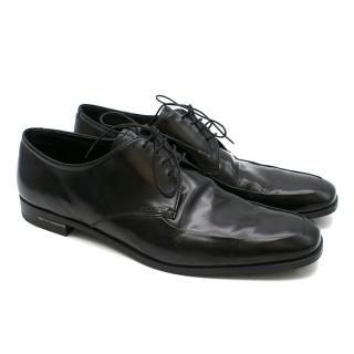 Prada Black Leather Laced Derby Shoes