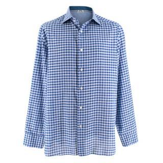 Donato Liguori Blue Gingham Bespoke Tailored Shirt