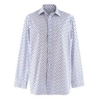 Donato Liguori Blue Strawberry Print Bespoke Tailored Shirt
