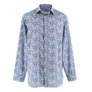 Donato Liguori Blue Floral Print Hand Tailored Shirt