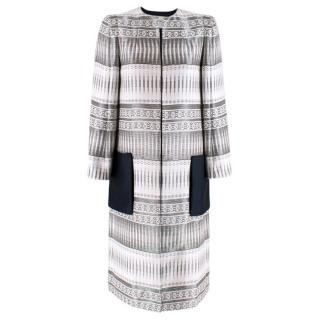 Amanda Wakeley White, Silver & Navy Embroidered Longline Coat