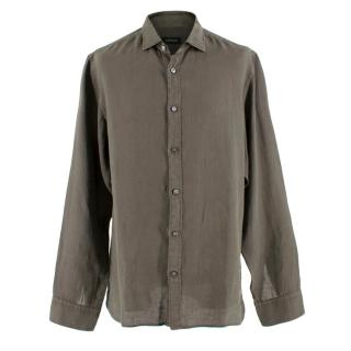 Z Zegna Olive Green Linen Shirt