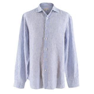 Doriani Blue Striped Linen Shirt