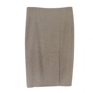 Max Mara Beige Wool Pencil Skirt