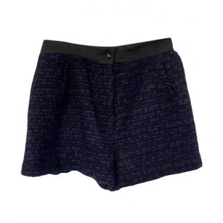 Sandro Blue & Black Tweed Shorts