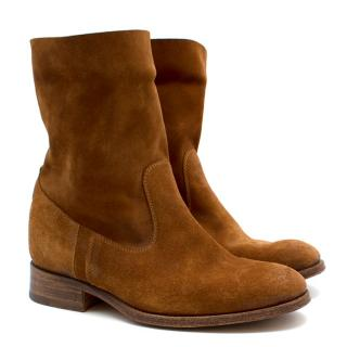 N.D.C Handmade Brown Suede Round Toe Ankle Boots