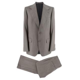 Yves Saint Laurent Grey Striped Wool Suit
