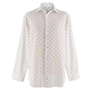 Donato Liguori White Floral Print Bespoke Tailored Shirt