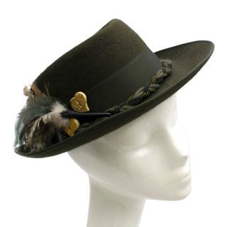 Ishler Hut Vintage Original Furfelt Round Top Green Hat with Feathers