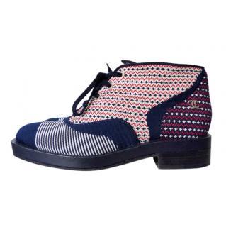 Chanel multi colour canvas ankle boots