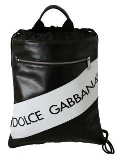 Dolce & Gabbana Black & White Drawstring Printed Backpack