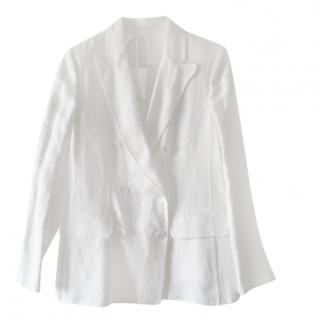Max Mara White Linen Double Breasted Jacket