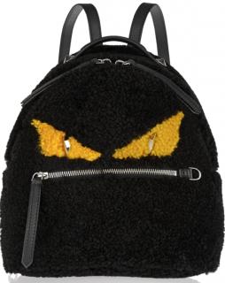 Fendi Monster mini leather-trimmed shearling backpack