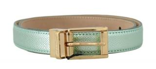 Dolce & Gabbana Green Metallic Leather Belt