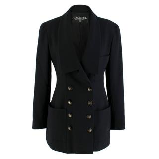 Chanel Boutique Black Longline Double Breasted Blazer