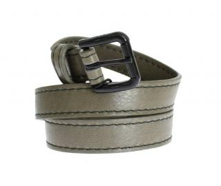 Dolce & Gabbana Grey Leather Skinny Belt