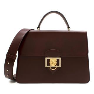 Aspinal Large Maroon Leather Messenger Bag