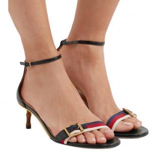 Gucci sylvie grosgrain-trimmed leather sandals