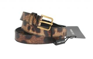 Dolce & Gabbana leopard print leather waist belt