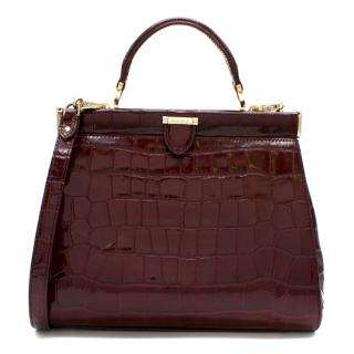 Aspinal of London Crocodile Print Small Florence Frame Bag