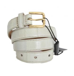 Dolce & Gabbana Grey Leather Waist Belt