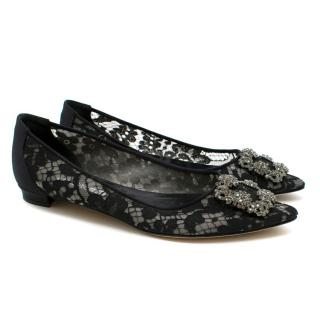 Manolo Blahnik Black Lace Pointed Hangisi Ballerinas