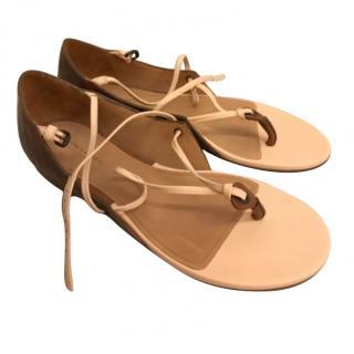 Bottega Veneta Leather Lace-Up Flat Sandals