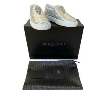 Philipp Plein Metallic Crystal Skull Slip-On Sneakers